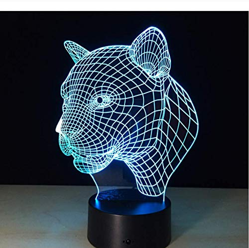 Buntes 3D Nachtlicht Animal Leopard Head Visual Led Lamp 7 Colors Changing Touch Sensor Usb Led Child Kids Toys Birthday…