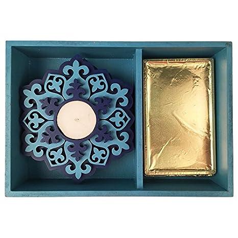 Blu tessuto scatola di legno - t-lights e cioccolatini ceste regalo ...