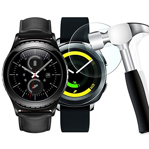 [2 Pack] Gear S2 Screen Protector, WIMAHA [Tempered Glass] Samsung Gear S2 Classic /Gear Sport Screen Protector [Easy-Install] from Wimaha