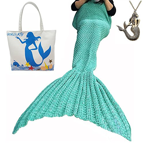 For Slender For Costume Man Sale Kids (URSKY Crochet Knitted Sofa Living Room Mermaid Tail Blanket, Cozy and Soft All Season Mermaid Tail Pattern Throw Sleeping Bag For Adult, Teens and Child ,71