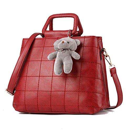 [VVeda Spring Lady Handbag Winnie the Pendant Handbag Shoulder Messenger Bags(Wine red)] (Dance Costumes Australia Suppliers)