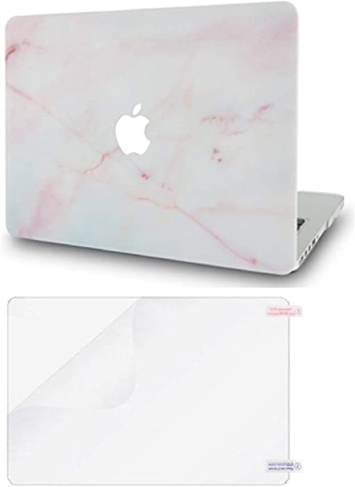 """LuvCase2in1LaptopCasewithScreen ProtectorforMacBookPro 13"""" (2016-2020 Release) with/Without Touch Bar A2251/A2289/A2159/A1989/A1706/A1708 RubberizedPlasticHardShell Cover (Pink Marble)"""