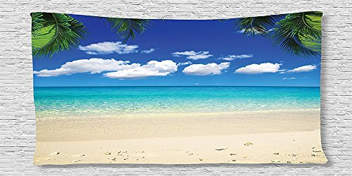 Cotton Microfiber Bathroom Towels Ultra Soft Hotel SPA Beach Pool Bath Towel Beach Island View Tropical Vacation and Bright Sky Scenic Shore Picture Print Living Kids Blue Ivory