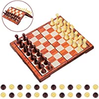 iBaseToy Magnetic 2-In-1 Chess Checkers Game Set