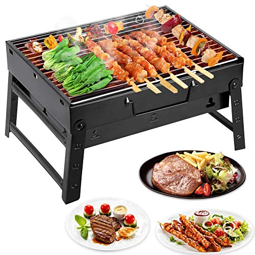 Mbuynow Picknickgrill Kleiner Grill Klappgrill Tragbarer BBQ Grill Holzkohlegrill für Camping Garten Party Barbecue (L…