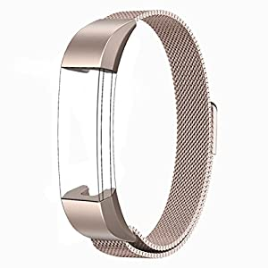 Fitbit Alta HR and Alta Bands Metal, Swees Milanese Stainless Steel Replacement Accessories Metal Small & Large Band for Fitbit Alta HR and Alta, Champagne