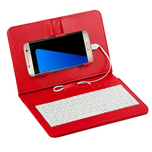 Jonerytime General Wired Keyboard Flip Holster Case Andriod Mobile Phone 4.2''-6.8'' (Red) (Keyboard Flip Holster Case For Android Mobile Phone)