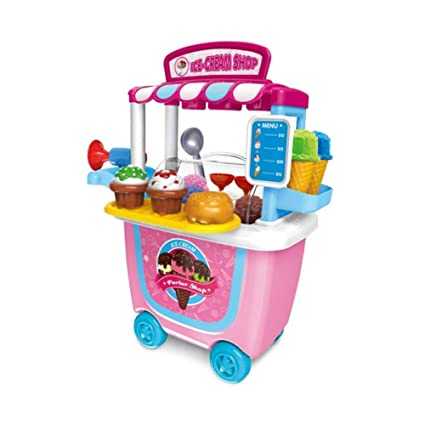 per Carro Supermercado Juguete Trolley Car Barrel BBQ Trolley Helado Car Fun Tool Cart Regalo de