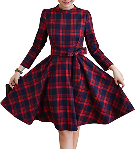 Yomoko Women's Vintage Plaid Long Sleeve Evening Rockabilly Swing Party Dress (X-Large, (Navy Red Plaid Dress)