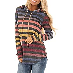 LisYOU Womens Stripe Long Sleeve Hoodie Sweatshirt Hooded Pullover Tops Blouse(M,Multicolor)