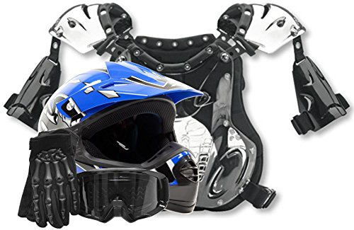 Youth Kids Peewee Offroad Gear Combo Helmet Gloves Goggles Chest Protector Motocross ATV Dirt Bike Blue - Small