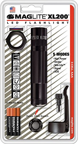 Tail Cap Switch Combo (Maglite XL200 LED 3-Cell AAA Flashlight Tactical Pack, Black)