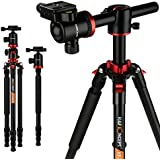 K&F Concept TM2534T DSLR Camera Tripod 66 Inch Portable Magnesium Aluminium Monopod 4 Section Professional Tripods With 360 Degree Ball Head Quick Release Plate for Canon Nikon Sony DSLR Cameras DV