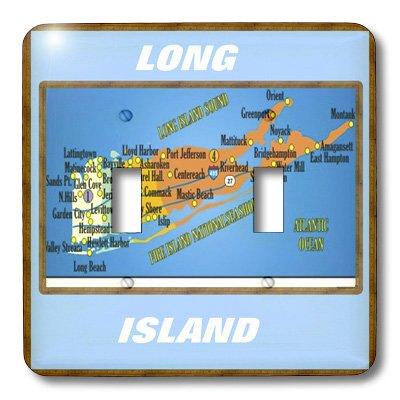 3dRose lsp/_39011/_2 Framed Map Of Long Island Double Toggle Switch