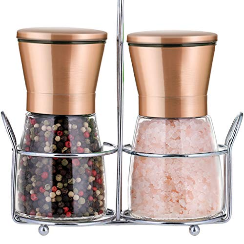 Copper Stainless Steel Salt and Pepper Grinder Set with Stand|Manual Himalayan Pink Salt Mill|Salt and Pepper Shakers with Adjustable Coarseness and Clear Glass Body (Pack of 2)