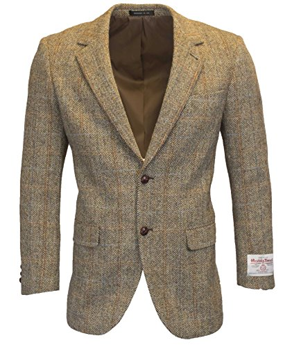Coat Leather Walker (Walker & Hawkes - Mens Classic Scottish Harris Tweed Herringbone Overcheck Country Blazer Jacket - White Sand - 46)