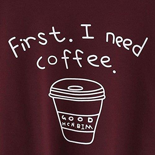 Coffee'' ''first Felpe Lettera Autunno Cappotto Casual Con Jumper Need Maglione Rosso Top I Inverno Moda Pullover Caldo Loose Donna 8wPpqH