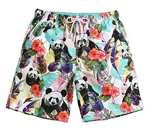 WUAMBO Mens Panda Floral Prints Board Shorts Slim Fit Quick Dry Short Swim Trunks with Mesh Lining/XXX-Large(Waist:37