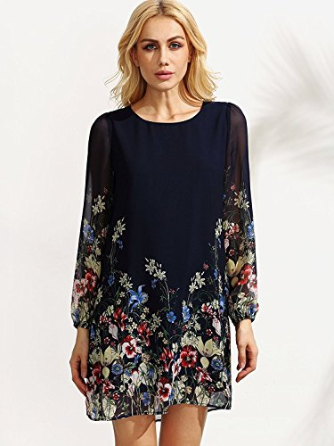 A Chiffon Sleeve 2 Casual Women's Navy Floerns Line Blue Dresses Floral Mini Print Shift xwqgYnI6