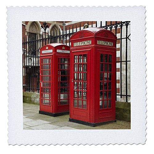 3dRose qs_82770_1 Phone Boxes, Royal Courts of Justice, London, England EU33 DWA0003 David Wall Quilt Square, 10 by 10-Inch