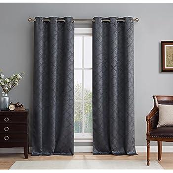 Amazon Com Lush Decor Swirl Room Darkening Window Curtain