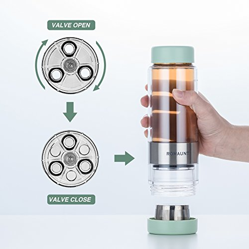 Tea Infuser Bottle Tumbler Travel Mug ROMAUNT Twist Valve System Design Control Tea Concentration 14oz/390 Ml Double Wall Tritan Bpa Free Body Compatible With Coffee Bag Yellow Color