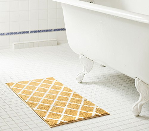 - RT Designers Collection Chester 2 Piece Jacquard Microfiber Bath Mat Set in Gold