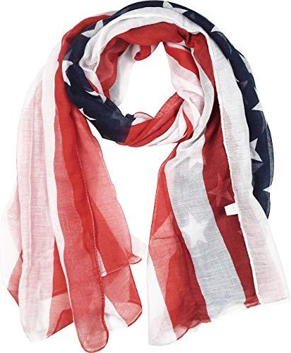 (Women Long Soft USA Flag Print Chiffon Star Scarf Beach Wrap Soft Lightweight American Flag Scarf)