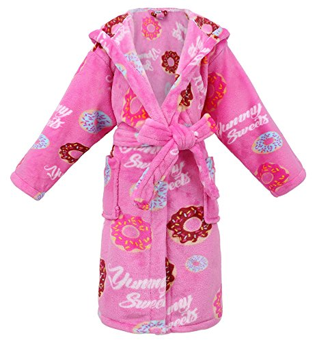 Cupcake Costumes For Kids Pattern (Girls Robe Hooded Printed Flannel Fleece Bathrobe with Side Pockets,Donut,M)
