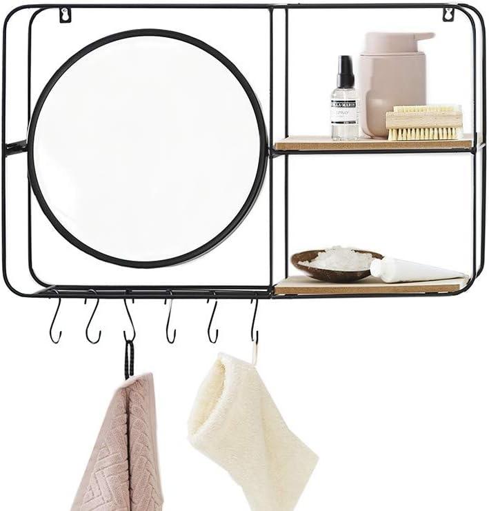 Lifa Living Bathroom Wall Mirror With Shelves Hooks Vintage Round Vanity Mirror Wooden Black Metal Floating Shelf Decorative Hanging Shelf Horizontal Amazon Co Uk Kitchen Home