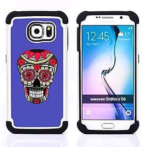 BullDog Case - FOR/Samsung Galaxy S6 G9200 / - / PURPLE PATTERN FLORAL SKULL DEATH /- H??brido Heavy Duty caja del tel??fono protector din??mico - silicona suave