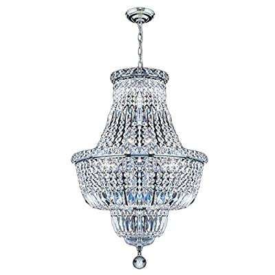 Worldwide Lighting W83032C18 Empire Chandelier, 12-Light, Clear Crystal, 18 x 27-Inch, Chrome Finish