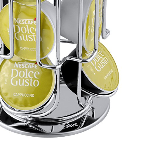 Kealive Coffee Pod Storage Carousel, Coffee Holder and Organizer With Non-slip Base, 360-degree Rotation, Holds 24 Dolce Gusto Coffee Capsule, Chrome Silver by Kealive (Image #3)