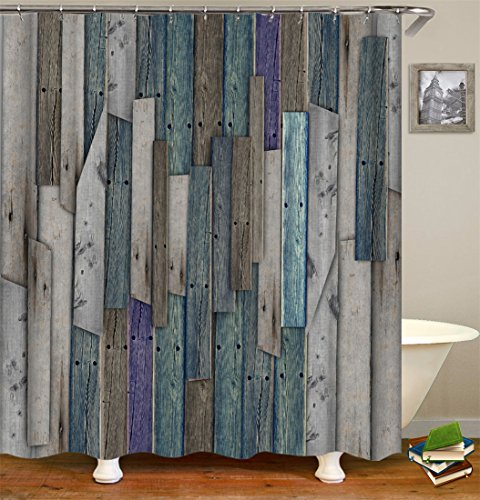 Wood Fence Shower Curtain Set, Thick Polyester Fabric, Mildew Mold Resistant Waterproof Machine Washable , 72 X 72 inch, Blue Purple Gray