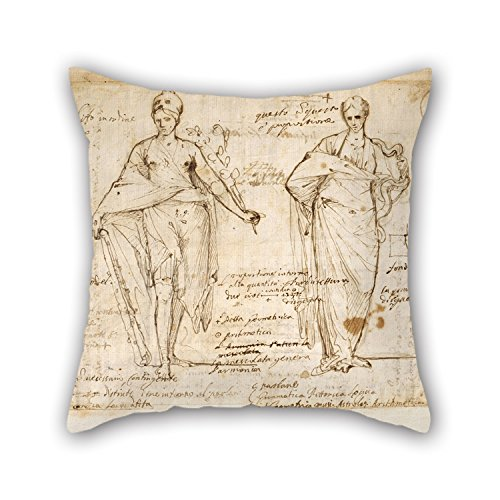 Oil Painting Pietro Testa - The Allegorical Figures Of Reason And Wisdom Cushion Cases Best For Monther Indoor Chair Bedroom Office Kids Room 16 X 16 Inches / 40 By 40 Cm(both Sides)