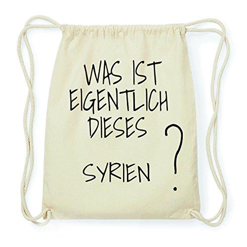 JOllify SYRIEN Hipster Turnbeutel Tasche Rucksack aus Baumwolle - Farbe: natur Design: Was ist eigentlich 8Fat5