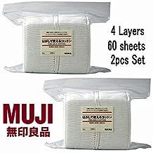 Muji Japan 4 Layers Facial Cotton Pad (60 Sheets) 2pcs Set by Moma Muji
