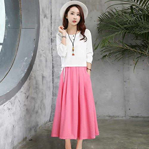 Lin de Coton Mode vtements pices XL Robes l't Longue Lin De Jupe Robe MiGMV Blanc de Deux Longues Manches wI8XOpg