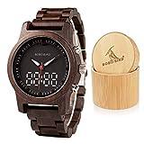 BOBO BIRD Mens Womens Wooden Watches Luxury Sport LED Digital Quartz Double Display Black Sandalwood Watch for Men