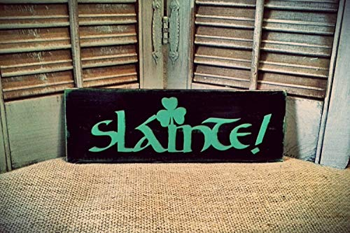 Slainte Cheers Irish Sign Pub Sign Bar Sign Man Cave Decor Beer Sign Bar Decor Hand Plaque Printed Quote Sign Wood Hanging Plaque for Living Room