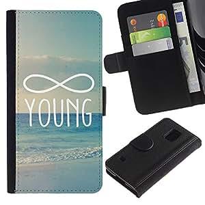 Billetera de Cuero Caso Titular de la tarjeta Carcasa Funda para Samsung Galaxy S5 V SM-G900 / infinity mathematics young forever / STRONG