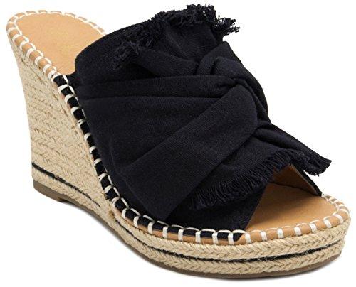 (Sugar Women's Honora Slip-On Open Back Espadrille Wedge Sandal, Black Canvas 9 M US)