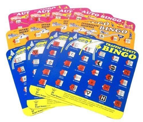 Travel Auto Bingo Roadtrip Game, Set of 12 Cards (4 Green, 4 Orange, 4 Pink) by Regal Games