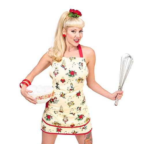 Retro Tattoo Print Apron, Vintage Cream Cotton Tattoo Parlor Women's Kitchen Linens with Mermaid Pin-up, Pirate Ship, Koi Fish, Roses - Women With Tattoos