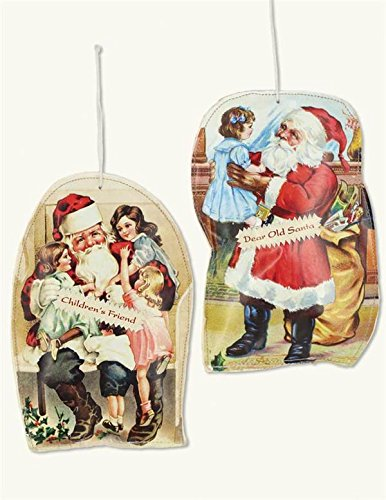 Victorian Trading Co. 2 Santa Pillow Vintage Art Christmas Ornaments New