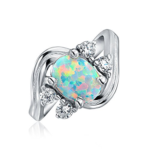 Bling Jewelry .925 Silver Vintage Style Synthetic Opal CZ Oval Engagement...