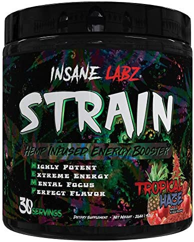 Insane Labz Strain nextHEMP Infused Mid Stimulant Pre Workout Powder, Loaded with Caffeine Yohimbine Fueled by AMPiberry, 30 Servings Tropical Haze