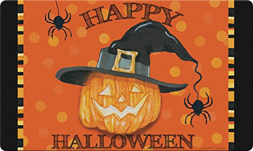 Toland Home Garden Witch Pumpkin 18 x 30 Inch Decorative Happy Halloween Floor Mat Pumpkin Spider Doormat -