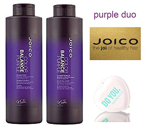 Joico Color Balance PURPLE Shampoo & Conditioner DUO Set (with Sleek Compact Mirror) (33 oz / 1000ml - Large Liter DUO Kit) ()