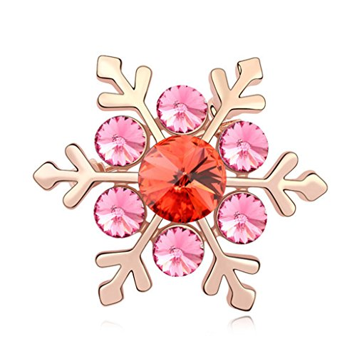 (Fashion Jewelry Charm Swarovski Elements Crystal Rose Red snowflake Brooch Pin Rose Gold Plated)